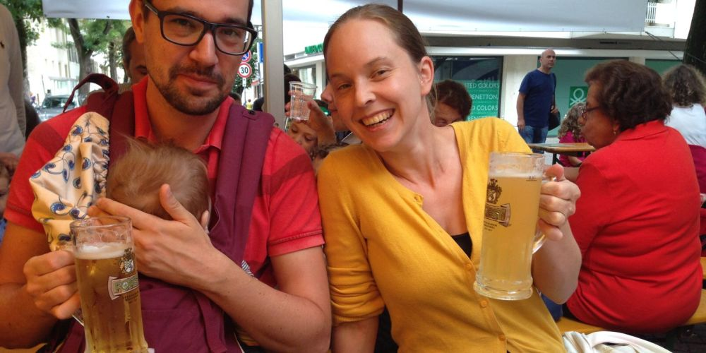 Anna, Bowser and I at the Sommerfest in Brixen. Anna drinks Radler, which is actually just lemonade that looks a bit like beer.