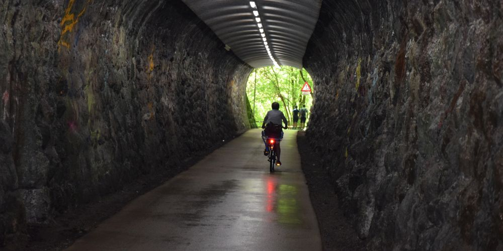 I was happy to find this tunnel so I didn't have to cycle over the mountain to get to the other side.