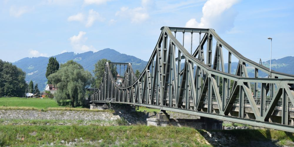 One of the bridges above the Rhine, connecting Switzerland to Austria by road.